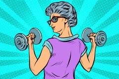 Free Fitness Dumbbells Sport Activity Woman Grandmother Pensioner Elderly Lady Stock Photos - 164750443