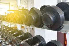 Fitness dumbbells, weights equipment, selective focus, fitness c royalty free stock photo