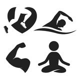 Fitness elements and logos. Swimming, yoga, runner and gym icons. Vector silhouettes  on white background Royalty Free Stock Image