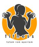 Fitness Emblem with Athletic Woman royalty free illustration