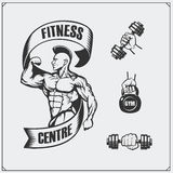 Fitness emblem and design elements. Illustration of bodybuilder. Royalty Free Stock Photo