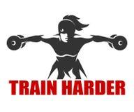 Fitness Emblem with slogan Train Harder Royalty Free Stock Photo