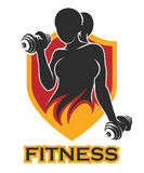 Fitness Emblem with training girl and shield. Emblem with athletic Woman Holding Weight Silhouette on shield.  for Sport Label, Gym Badge, Fitness Logo Design Stock Photo