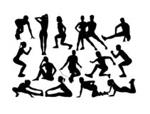 Fitness en Gymnastieksportsilhouetten stock illustratie