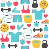 Fitness en sporten naadloos patroon Royalty-vrije Stock Fotografie