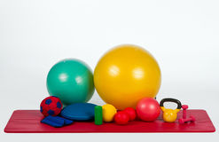 Fitness equipment. Collection of various fitness equipment Royalty Free Stock Image