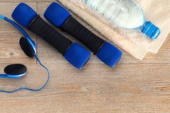 Fitness equipment and copy space Royalty Free Stock Images