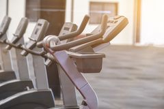 Fitness equipment of cycling gray in room royalty free stock photography