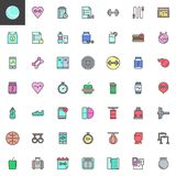 Fitness equipment filled outline icons set royalty free illustration