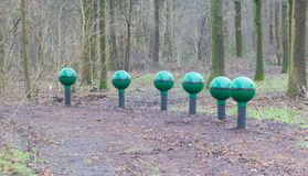 Fitness equipment in a forest - One stage of many Royalty Free Stock Images