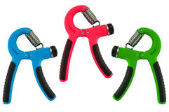 Fitness Equipment Grip. Blue red and the other color grip Stock Image