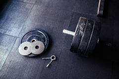Fitness equipment in gym Royalty Free Stock Image
