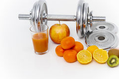 Fitness equipment and healthy food, apple, nectarines, kiwi, lem Stock Photography