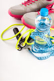 Fitness equipment and healthy food. Composition Royalty Free Stock Image