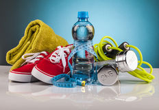 Fitness equipment and healthy food. Composition Stock Images
