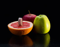 Fitness equipment. Healthy food. grapefruit , water, apple, fresh, clear, fruits. Fitness equipment. Healthy food. grapefruit , water, apple fresh clear fruits Stock Photo