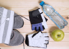 Fitness equipment. Healthy food. Sports equipment. Sportswear. Stock Photo