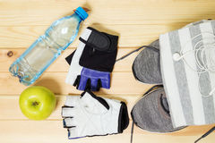 Fitness equipment. Healthy food.  Sportswear. Royalty Free Stock Images