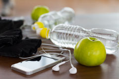 Fitness equipment and healthy nutrition Stock Images