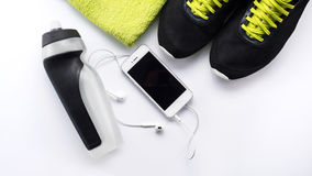 Fitness equipment and healthy nutrition. Fitness equipment healthy nutrition sport Royalty Free Stock Image