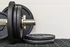 Fitness equipment, heavy dumbbells. Stock Photo
