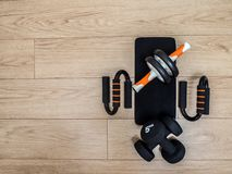 Fitness equipment for home training royalty free stock photography