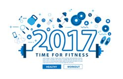 Fitness equipment 2017 new year concept workout Royalty Free Stock Photos