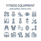 FITNESS EQUIPMENT : Outline icons , pictogram and symbol collection. Royalty Free Stock Photos