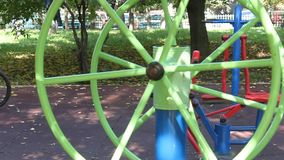 Fitness equipment in the park stock video footage