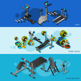 Fitness Equipment Posters Set Royalty Free Stock Photos