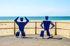 Fitness equipment at the sandy beach, blue ocean, public gym, se. Aside resort, active sport Royalty Free Stock Images
