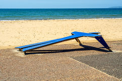 Fitness equipment at the sandy beach, blue ocean, public gym, se. Aside resort, active sport Royalty Free Stock Image