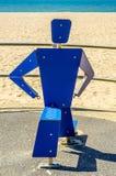 Fitness equipment at the sandy beach, blue ocean, public gym, se. Aside resort, active sport Stock Photo