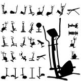 Fitness equipment silhouettes. A   Fitness equipment silhouettes Stock Images
