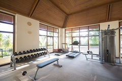 Fitness equipment in the sport club Stock Photos