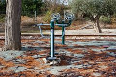 Fitness equipment on the street royalty free stock image