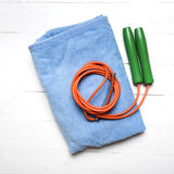 Fitness equipment:towel,jumping rope Royalty Free Stock Photography
