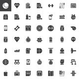 Fitness equipment vector icons set Stock Images