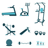 Fitness equipments. Fitness sport gym exercise equipment workout flat set concept. Vector illustration royalty free illustration