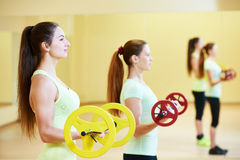 Fitness excercises with dumbbells Royalty Free Stock Images