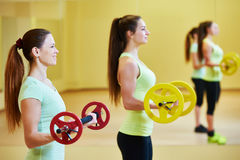Fitness excercises with dumbbells Stock Image