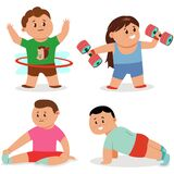 Fitness exercise for children vector set. Workout yoga and sports. Cartoon character