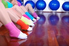 Fitness exercise and colorful socks Royalty Free Stock Photos