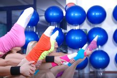Fitness exercise and colorful socks Royalty Free Stock Photography