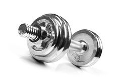 Fitness exercise dumbbell weight isolated on white Stock Photo