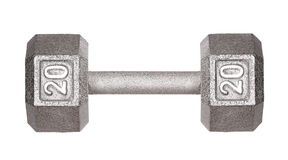 Fitness exercise equipment dumbbell weights isolated Stock Image