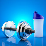 Fitness exercise equipment dumbbell weights  and shaker on blue background. Stock Images