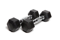 Fitness exercise equipment dumbbell weights Royalty Free Stock Images