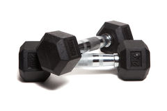 Fitness exercise equipment dumbbell weights Stock Image