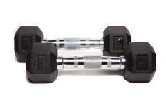 Fitness exercise equipment dumbbell weights Stock Images